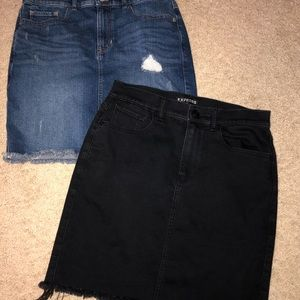 Black jean and dark jean high rise skirts